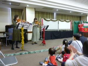 リトミック クリスマスコンサート ヴァイオリン演奏 大田区嶺町特別出張所